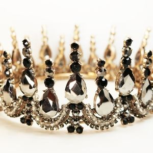 Accessories - Gothic Gunmetal & Black Crystal Embellished Crown